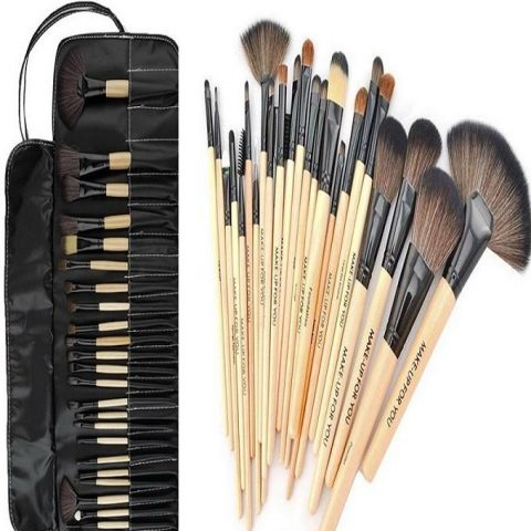 Cosmetic Brushes With Pouch - Black (Pack Of 24)