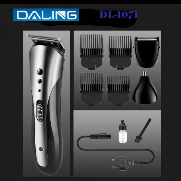 Daling 3 in 1 Professional Rechargeable Hair Clipper Trimmer & Shaver for Men – Black & Silver
