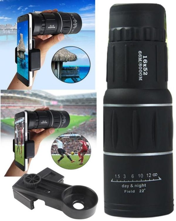 Monocular Telescope Lens with Mobile Clip for Camping -16x52