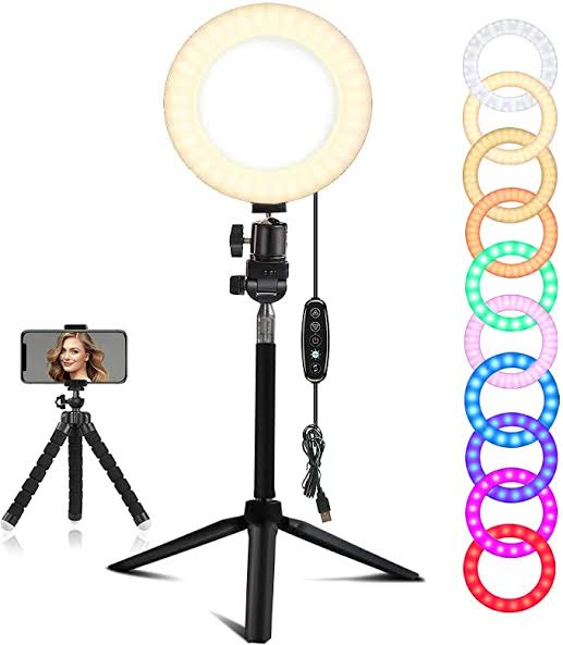 Multi Color Ring Light with 7 ft Tripod Stand
