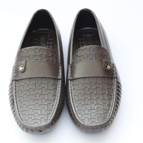 Brown Textured Button Stitch Moccasin Shoes
