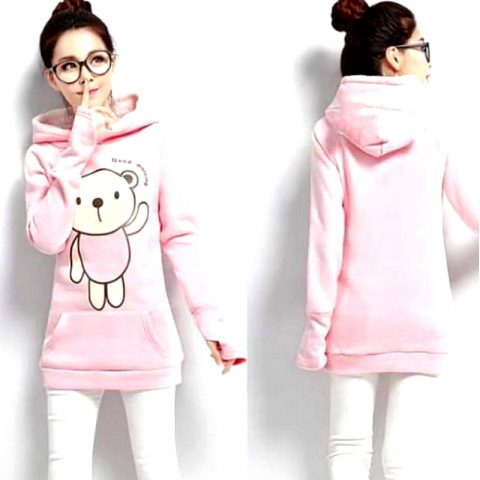 Long Sleeve Fleece Hoodie For Girls/Ladies