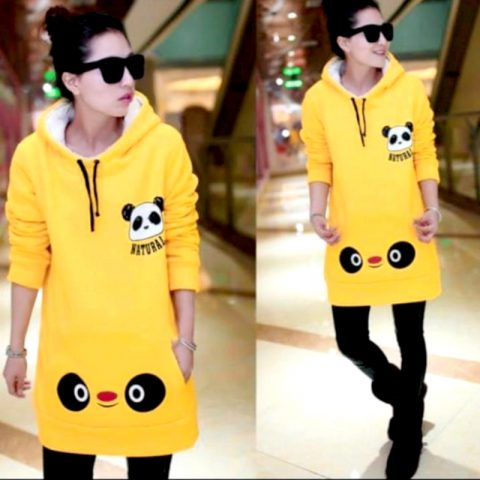 Long Sleeve Fleece Hoodie For Girls/Ladies (Yellow)