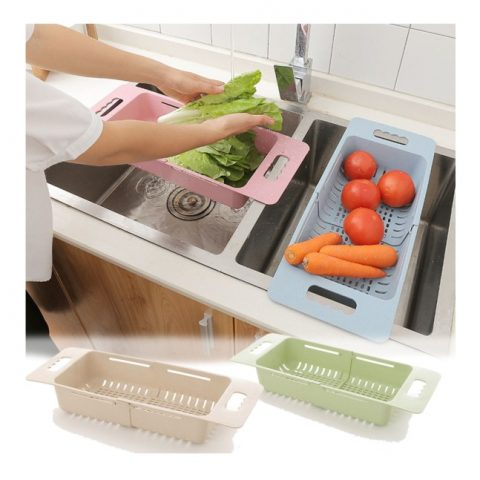 Adjustable length Plastic Sink Drain Basket for Fruits and Vegetables