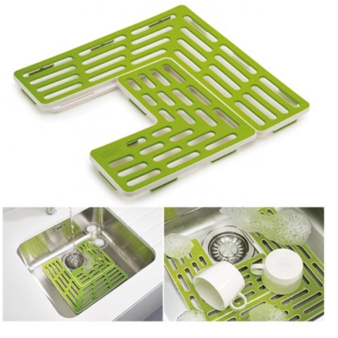 Plastic Drain Shelf for Sink and Kitchen Table Top - Green