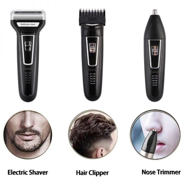 Kemei 3 in 1 Professional Rechargeable Hair Clipper Trimmer & Shaver – Black - KM 6332